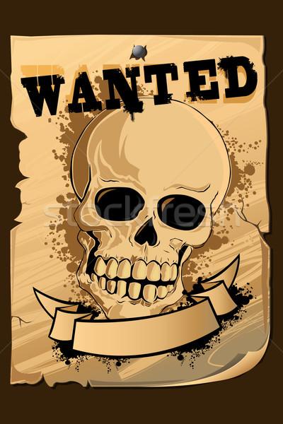 Bağbozumu aranan poster kafatası örnek basılı Stok fotoğraf © vectomart