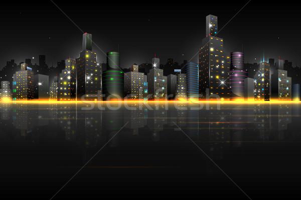 Cena noturna cidade ilustração edifício negócio Foto stock © vectomart