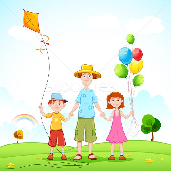 Père jouer enfants illustration ciel famille Photo stock © vectomart