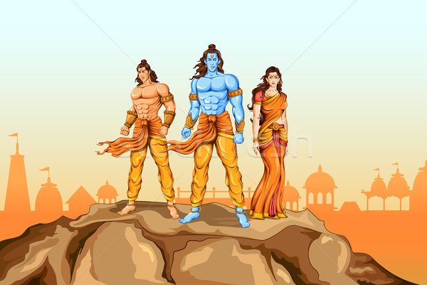 Lord Rama, Sita and Laxmana in Dussehra poster Stock photo © vectomart