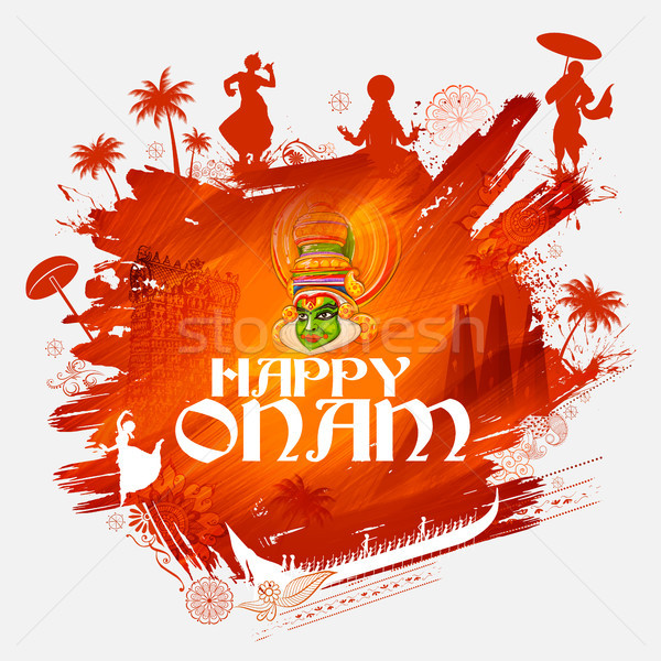 Kathakali dancer on background for Happy Onam festival of South India Kerala Stock photo © vectomart