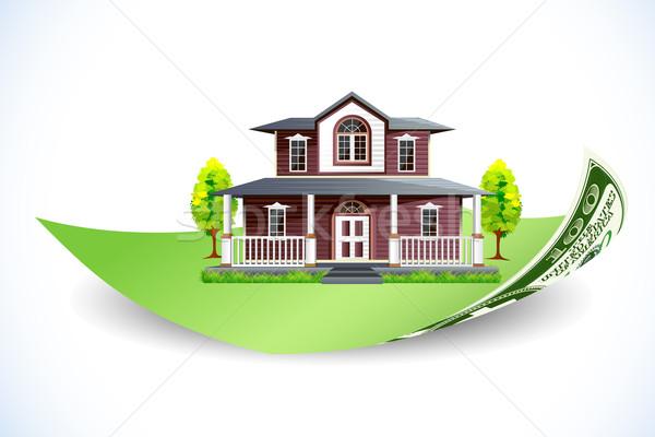 Lakáshitel illusztráció ház dollár jegyzet absztrakt Stock fotó © vectomart