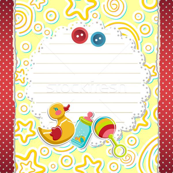 Bebek varış kart örnek oyuncaklar soyut Stok fotoğraf © vectomart
