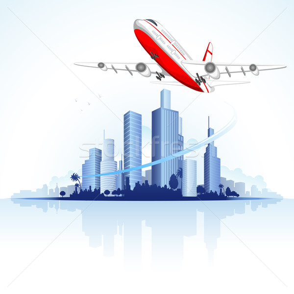 Flying Airplane on City Scape Stock photo © vectomart
