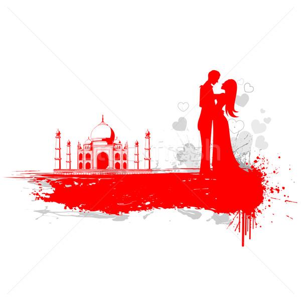 Couple Taj Mahal illustration affectueux Voyage mariée Photo stock © vectomart