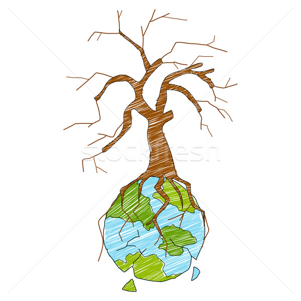 Earth with dry tree showing distruction Stock photo © vectomart