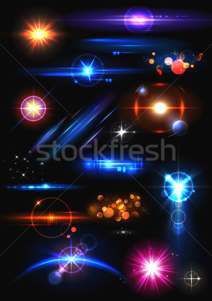 Realistic Lens Flare and Light Effect Element Stock photo © vectomart
