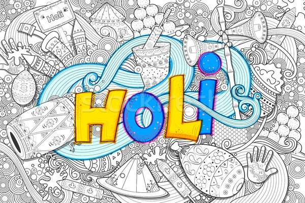 Happy Holi Doodle Background for Festival of Colors celebration greetings Stock photo © vectomart