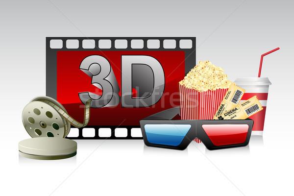 Ochelari 3d film dunga ilustrare pop porumb Imagine de stoc © vectomart