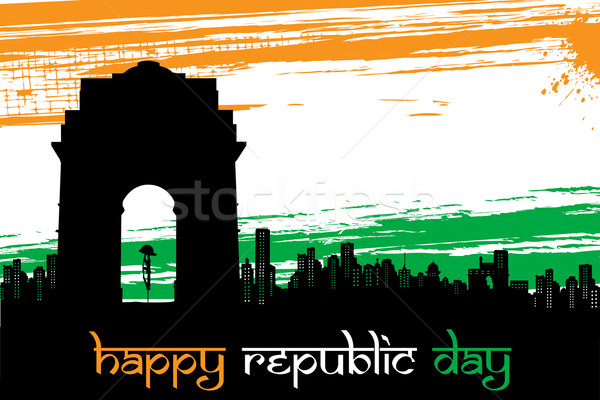 Indian City scape on Tricolor grungy Background Stock photo © vectomart