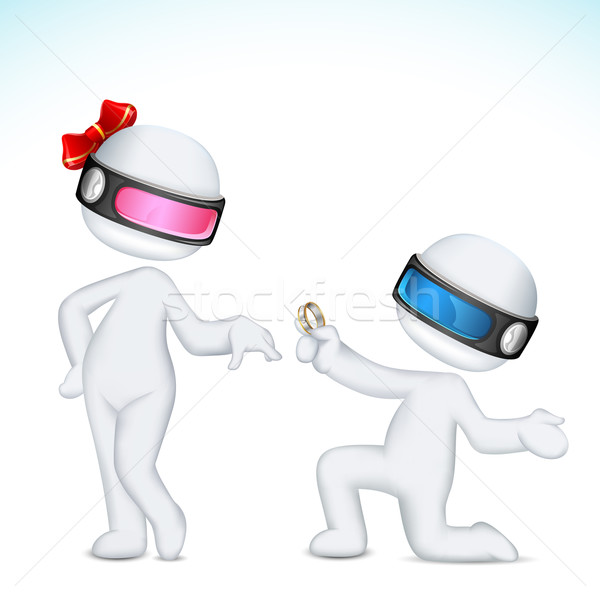 3d Man proposing Woman Stock photo © vectomart