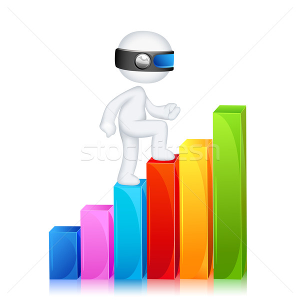 Stock photo: 3d Man climbing Bar Graph