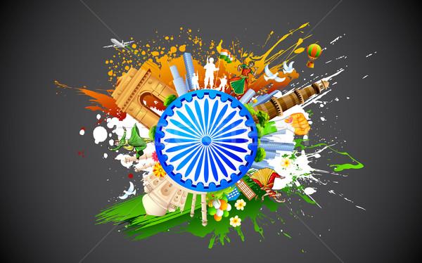 Diverzitás India illusztráció táncos mutat színes Stock fotó © vectomart