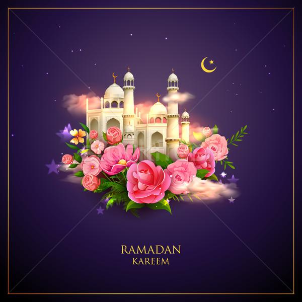 Stock fotó: Ramadán · nagyvonalú · üdvözlet · arab · mecset · illusztráció