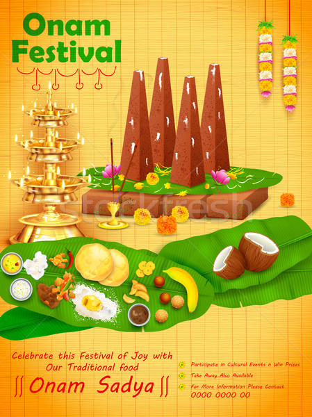 Decorated onathappan for Happy Onam festival of South India Kerala Stock photo © vectomart