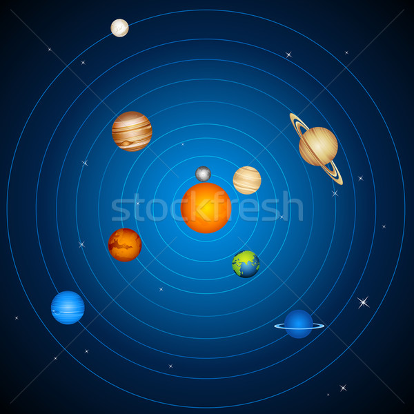 Sistema solar ilustração planetas sol lua fundo Foto stock © vectomart