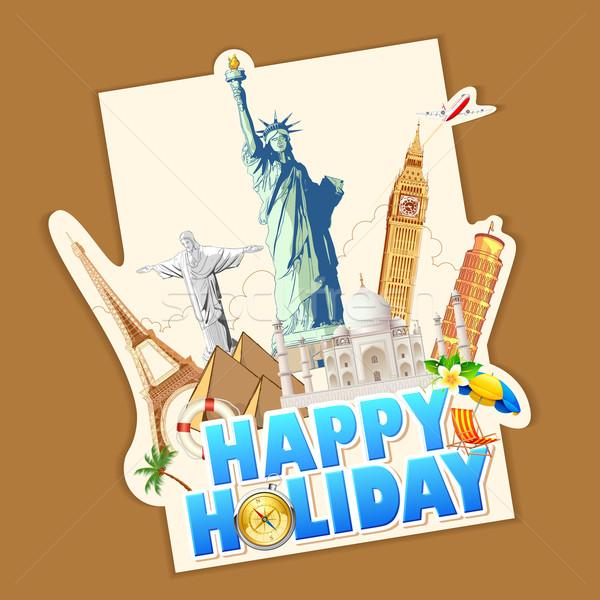 Mutlu tatil örnek afiş dünya ünlü Stok fotoğraf © vectomart