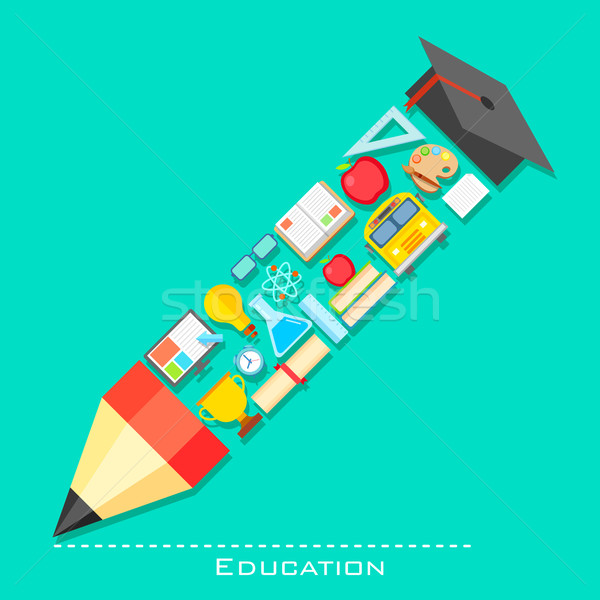 Education icon in shape of Pencil Stock photo © vectomart