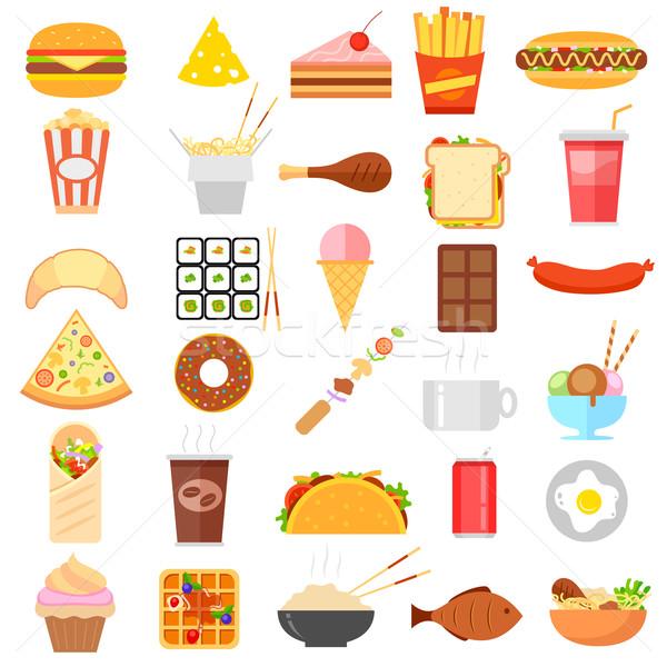 De comida rápida icono ilustración blanco alimentos café Foto stock © vectomart