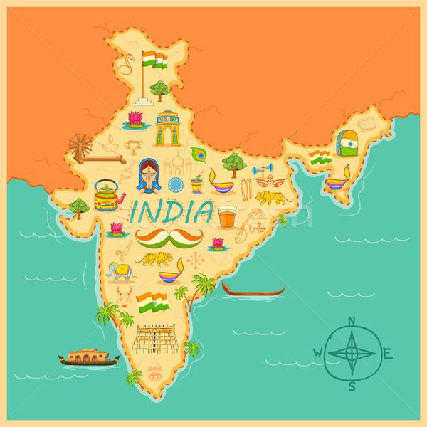 Stock foto: Karte · Indien · Illustration · Kitsch · Kunst · Reise