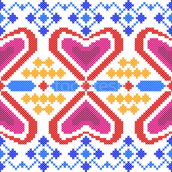 Cross Stitch Embroidery Geometrical design for seamless pattern texture Stock photo © vectomart