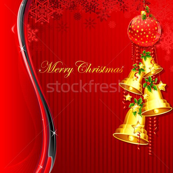 Akasztás karácsony harang illusztráció absztrakt levél Stock fotó © vectomart