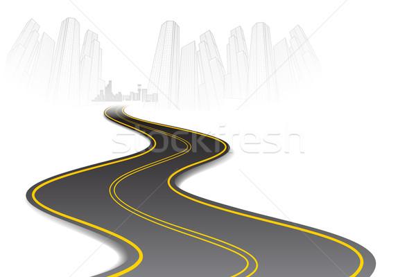 Foto stock: Estrada · cidade · ilustração · urbano · cidade · scape · céu