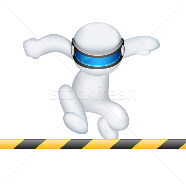 3d man in vector running in hurdle race Stock photo © vectomart