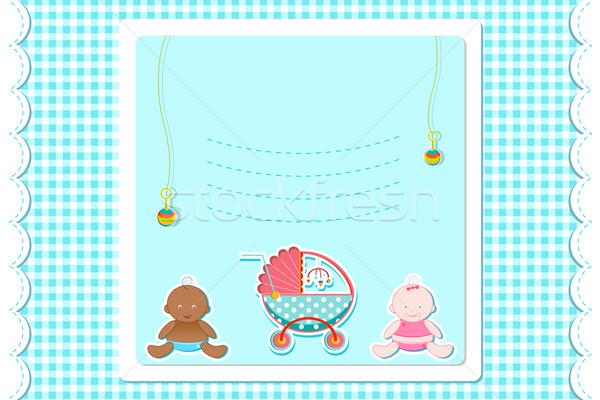 Bebek varış kart örnek bebek oyuncakları mutlu Stok fotoğraf © vectomart