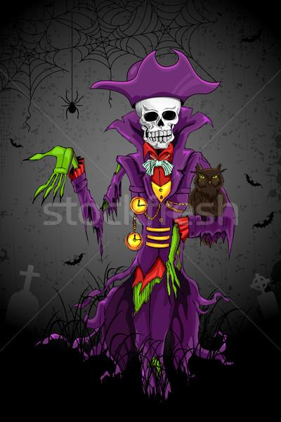 Halloween fantasma ilustração crânio cabeça homem Foto stock © vectomart