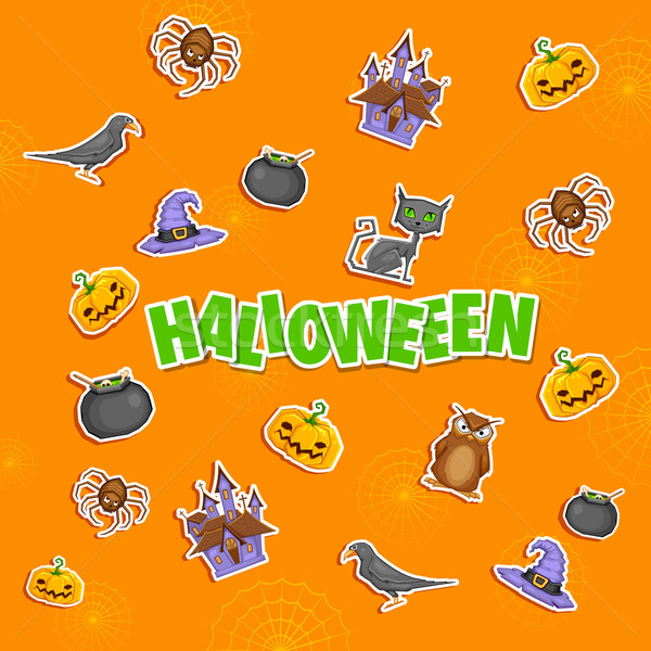 Halloween illustratie sticker partij achtergrond retro Stockfoto © vectomart