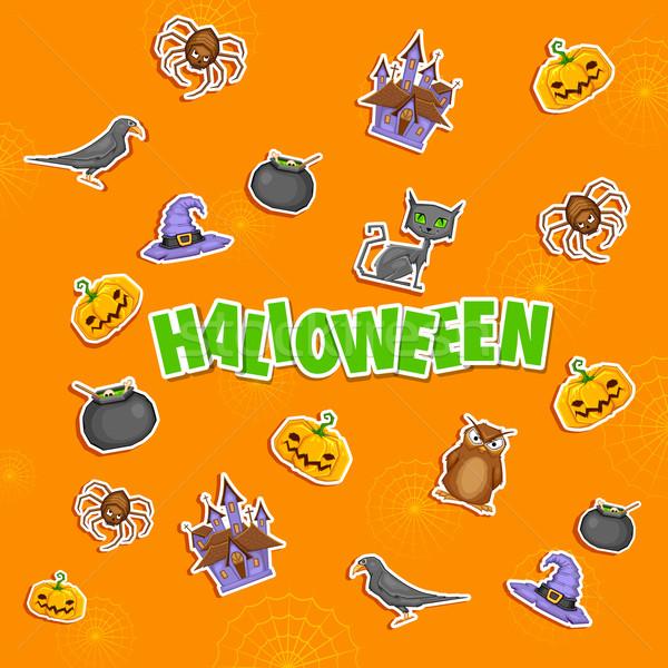 Halloween ilustracja naklejki strony tle retro Zdjęcia stock © vectomart
