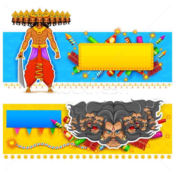 Ravan in Dussehra advertisment and promotion poster Stock photo © vectomart