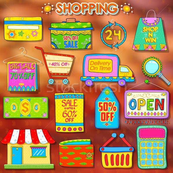 Warenkorb Illustration indian Kitsch Stil Design Stock foto © vectomart