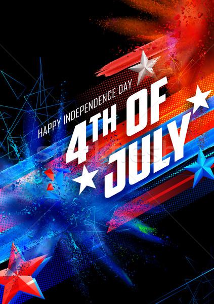 Vierde gelukkig dag amerika illustratie achtergrond Stockfoto © vectomart