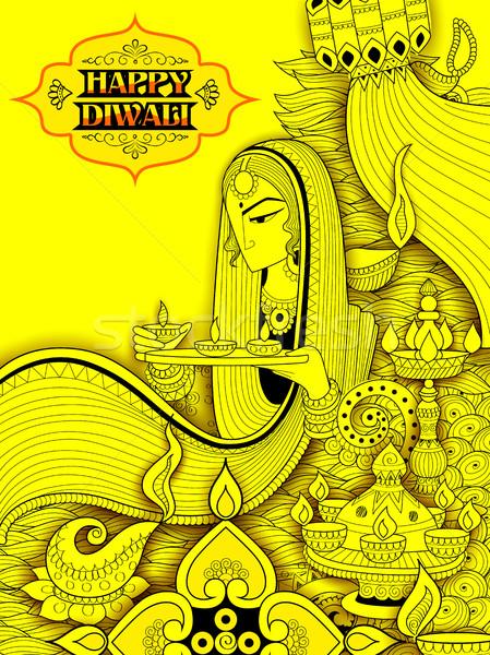 Dame Brennen glücklich Diwali Urlaub Doodle Stock foto © vectomart