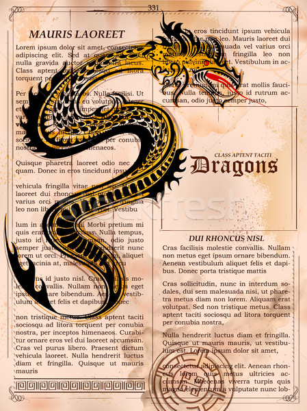 Furious Dragon drawing on old vintage book page Stock photo © vectomart