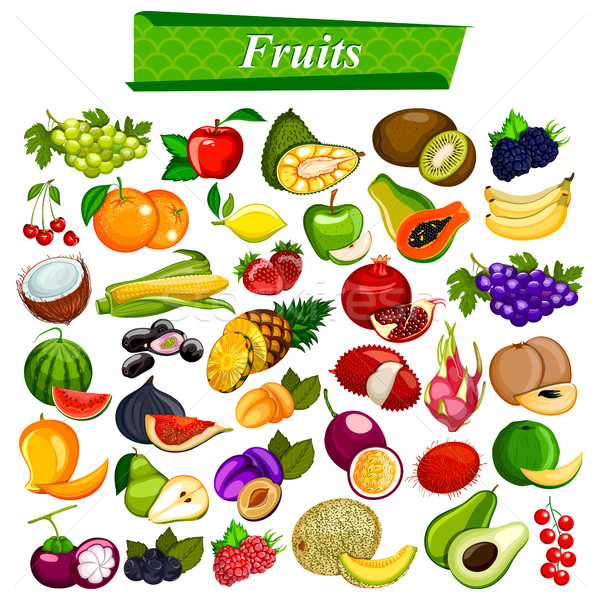 Fresh and nutritious fruit set including apple, orange, grapes, coconut, berry Stock photo © vectomart