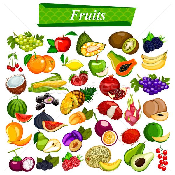 Frescos nutritivo frutas establecer manzana naranja Foto stock © vectomart