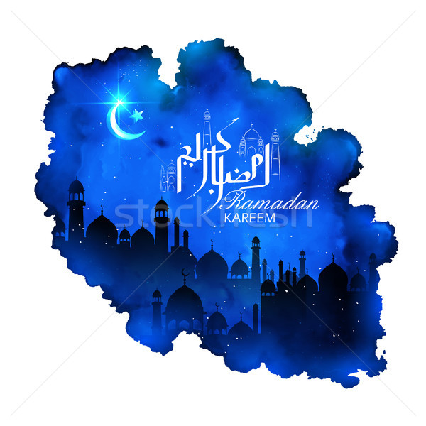 Ramadan Kareem Generous Ramadan greetings in Arabic freehand with mosque for Islam religious festiva Stock photo © vectomart