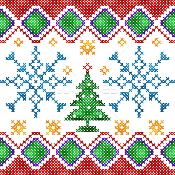 Cross Stitch Embroidery Christmas design for seamless pattern texture Stock photo © vectomart