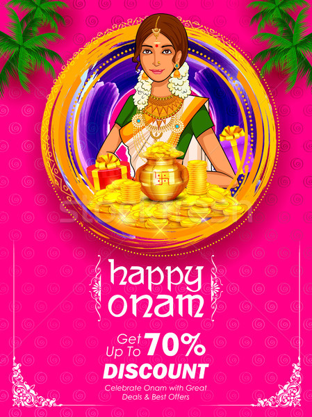 South Indian Keralite woman on advertisement and promotion background for Happy Onam festival of Sou Stock photo © vectomart