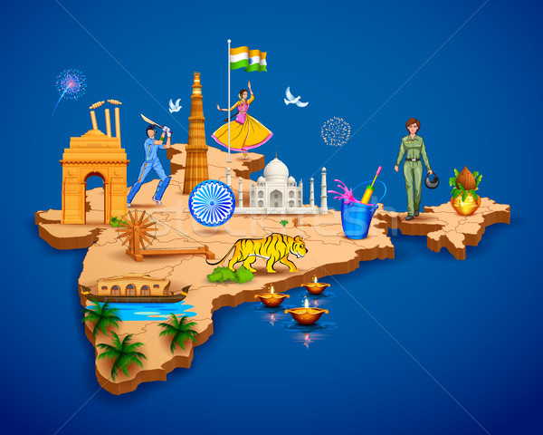 Detailed 3d map of India showing different monument and famous places Stock photo © vectomart