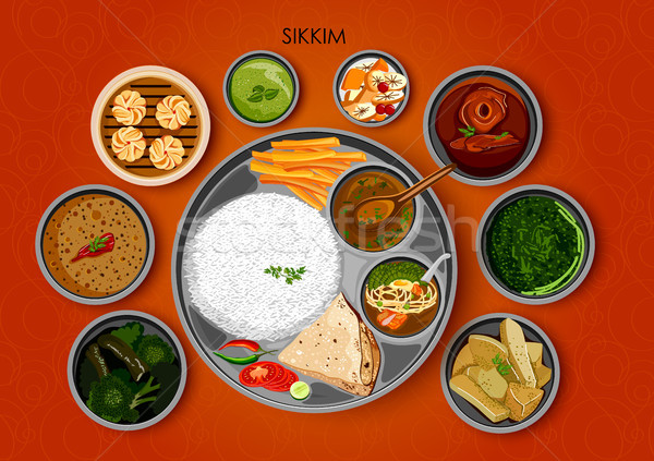 Traditional cuisine and food meal thali of Sikkim India Stock photo © vectomart