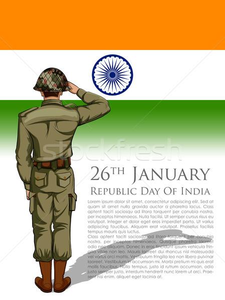 インド 軍 インド 幸せ 共和国 日 ストックフォト © vectomart