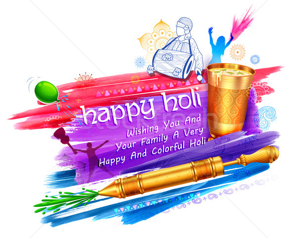 Happy Holi Background for Festival of Colors celebration greetings Stock photo © vectomart