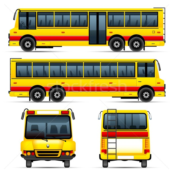 Bus scolaire illustration différent angle route Photo stock © vectomart