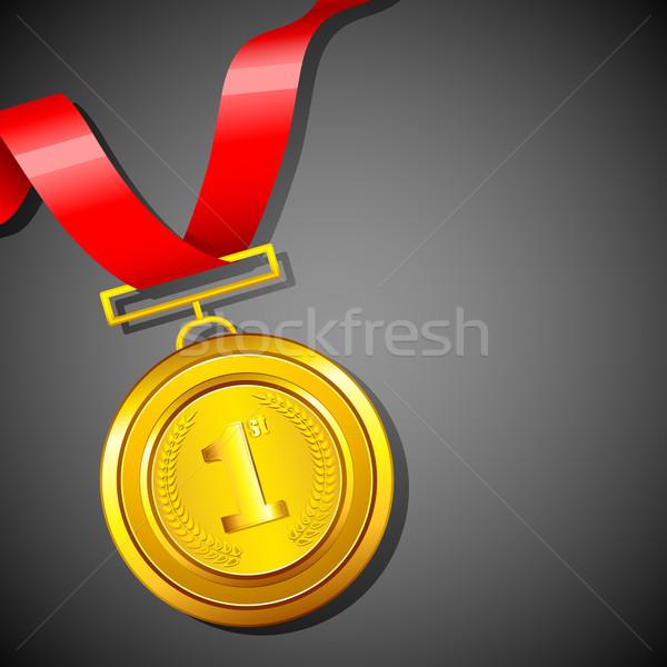 Aranyérem illusztráció vörös szalag absztrakt sport felirat Stock fotó © vectomart