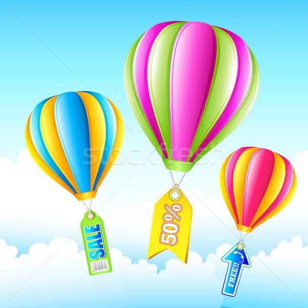 Venta globo de aire caliente ilustración etiqueta vuelo cielo Foto stock © vectomart