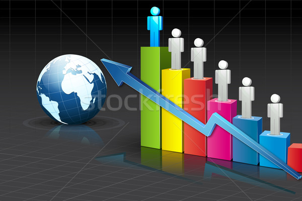 People standing on Bar Graph Stock photo © vectomart